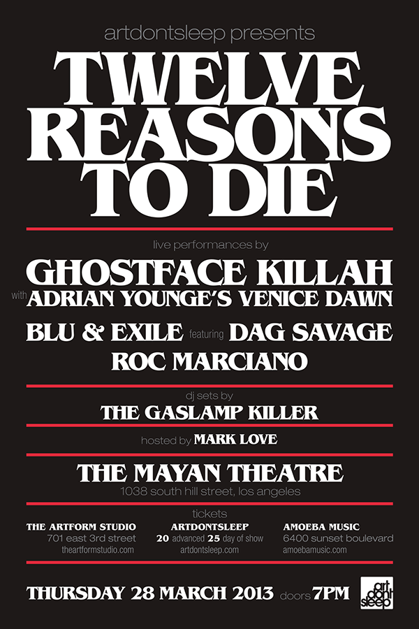ArtDontSleep presents: 12 Reasons To Die